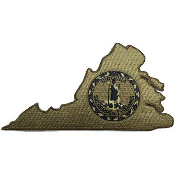 "Gadsden and Culpeper Airsoft Morale Patch 1 Die Cut Virginia Sic Semper Tyrannis Morale Patch - 2.5"" x 4"" - Coyote"