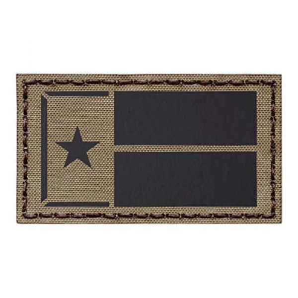 Tactical Freaky Airsoft Morale Patch 1 IR Tan Texas Lone Star Flag Coyote Brown 2x3.5 Infared IFF Tactical Morale Fastener Patch