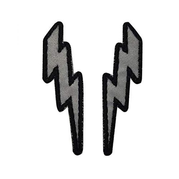 APBVIHL Airsoft Morale Patch 1 IR Infrared Reflective Lightning Bolt Patch Set, Military Tactical Morale Emblem Hook and Loop Fastener Backing Motorcycle MC Patches Armband Badges for Clothing Accessory Backpack