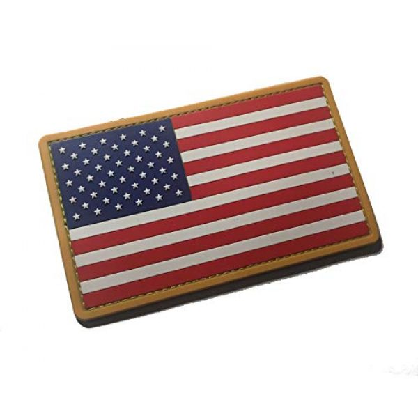 Empire Tactical USA Airsoft Morale Patch 1 PVC Large 3x5 Inch Color Tactical Us USA Flag (Hook/Loop) Patch