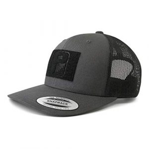 P PULLPATCH Tactical Hat 1 Pull Patch Tactical Hat | Authentic Snapback 2-Tone Curved Bill Trucker Cap | 2x3 in Hook and Loop Surface to Attach Morale Patches | 6 Panel | Charcoal Grey and Black | Free US Flag Patch Included