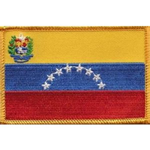 """World Flags Direct Airsoft Morale Patch 1 International Country Flag Patch 3.50"""" x 2.25"""", One Embroidered Iron or Sew On Flag Emblem; Over 100 Tactical Morale Patch Options Available (Venezuela)"""