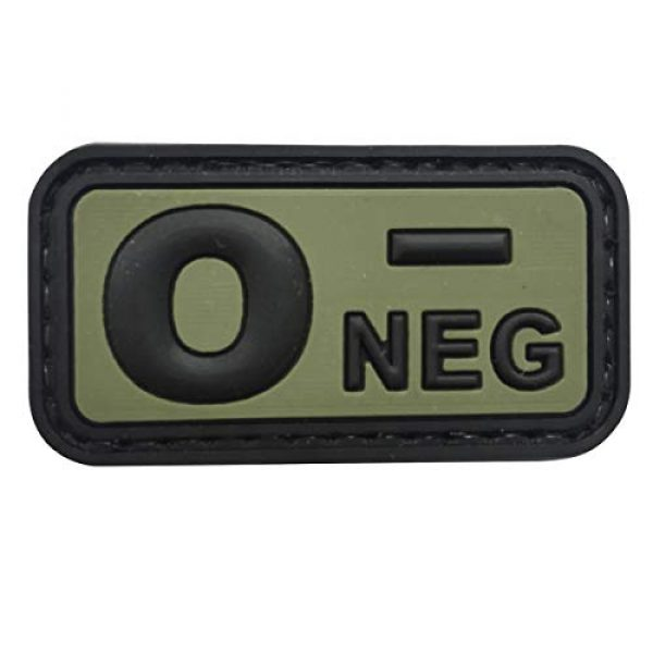 uuKen Airsoft Morale Patch 1 uuKen PVC Rubber Medic EMT EMS Emergency Rescue Green O- O NEG Negative Blood Type Group Identifier Tab 3D Tactical Patch with Hook Fastener Backing (Black and Green, 5x2.6cm)