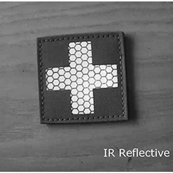 Hannah Fit Airsoft Morale Patch 3 1 Pieces Infrared IR Reflective Medic Cross Multicam MED Medical EMS EMT Tactical Patch Fastener Patch Hook/Loop 2x2 inch (OD Green)