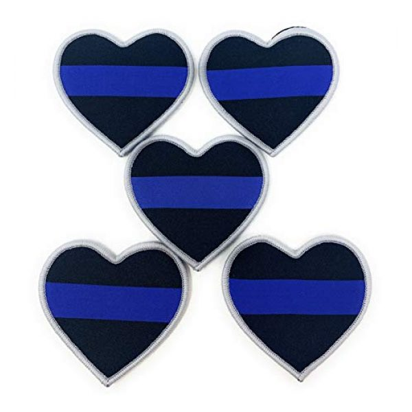 Funiverse Airsoft Morale Patch 1 Bulk 5 Pack of Thin Blue Line Police Heart Morale Patch - Show Your Support for Law Enforcement