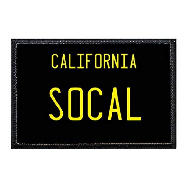 P PULLPATCH Airsoft Morale Patch 1 SoCal - California License Plate Morale Patch | Hook and Loop Attach for Hats, Jeans, Vest, Coat | 2x3 in | by Pull Patch