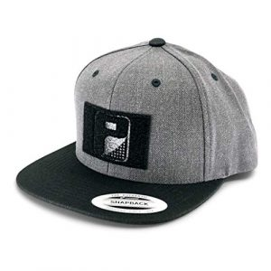 P PULLPATCH Tactical Hat 1 Pull Patch Tactical Hat, Baseball Cap | Authentic Snapback Premium Flat Bill | 2x3 in Hook and Loop Surface to Attach Morale Patches | Heather & Black | Free US Flag Patch Included