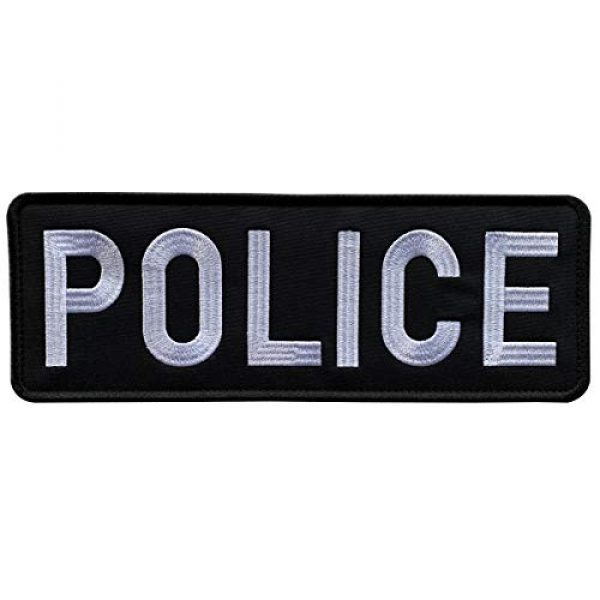 """uuKen Airsoft Morale Patch 1 uuKen Embroidery Cloth Fabric Police Vest Patch Black and White 11x4 inches for Military Police Tactical Vest Jacket Plate Carrier Back Panel (Black and White, XL 11""""x4"""")"""