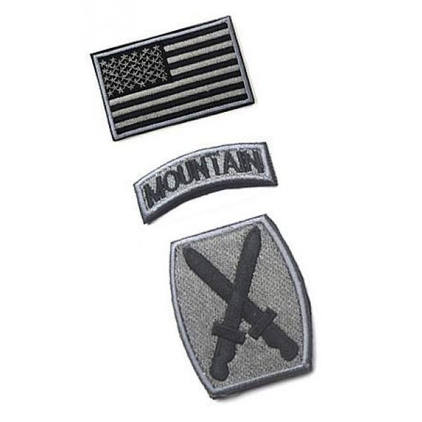 Embroidery Patch Airsoft Morale Patch 2 3 Pieces US Army 10th Mountain Division Military Hook Loop Tactics Morale Embroidered Patch(color1)