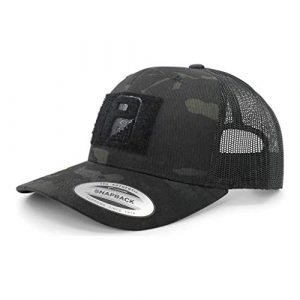 P PULLPATCH Tactical Hat 1 Pull Patch Tactical Hat | Authentic Snapback Multicam Curved Bill Trucker Cap | 2x3 in Hook and Loop Surface to Attach Morale Patches | 6 Panel | Black Camo and Black | Free US Flag Patch Included
