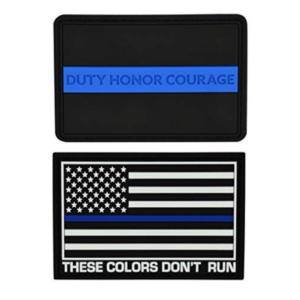 Great 1 Products Airsoft Morale Patch 2 Great 1 Products American Flag Patch Set, 2x3 inch, Flexible PVC Material, Hook and Loop, Military and Tactical Accessory for Clothing-Jackets-Hats-Backpacks (Thin Blue Line Set 2)