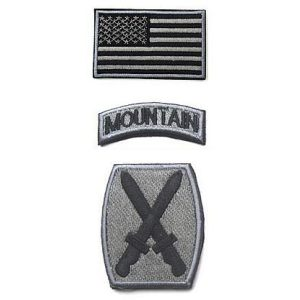 Embroidery Patch Airsoft Morale Patch 1 3 Pieces US Army 10th Mountain Division Military Hook Loop Tactics Morale Embroidered Patch(color1)