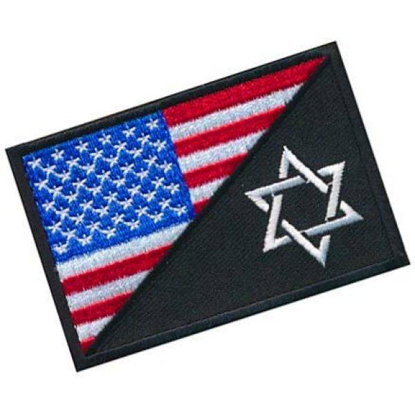 Embroidery Patch Airsoft Morale Patch 2 USA Flag Jewish Star of David Military Hook Loop Tactics Morale Embroidered Patch