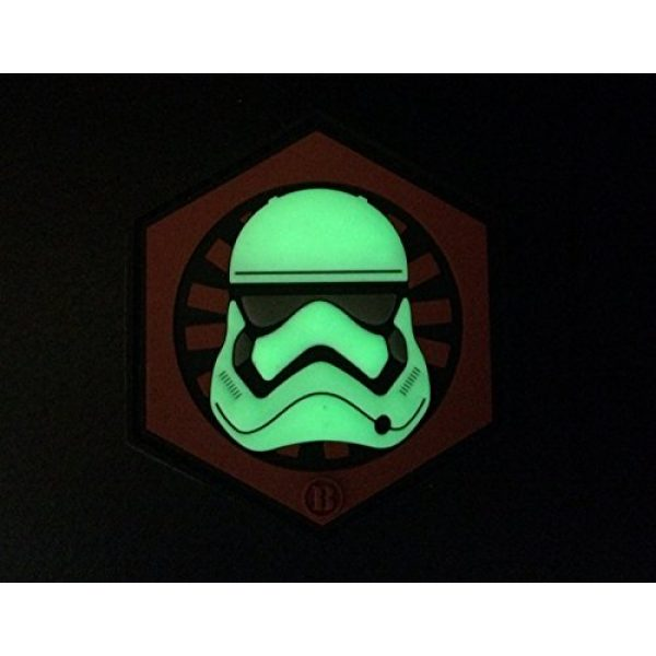 """Empire Tactical USA Airsoft Morale Patch 2 2.5"""" x 2.5"""" 3d PVC First Order Gitd Glow in the Dark Stormtrooper Helmet morale hook/loop Patch"""