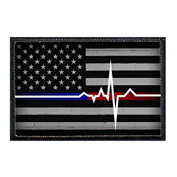 P PULLPATCH Airsoft Morale Patch 1 American Flag - Lifeline - Black and White Morale Patch   Hook and Loop Attach for Hats, Jeans, Vest, Coat   2x3 in   by Pull Patch