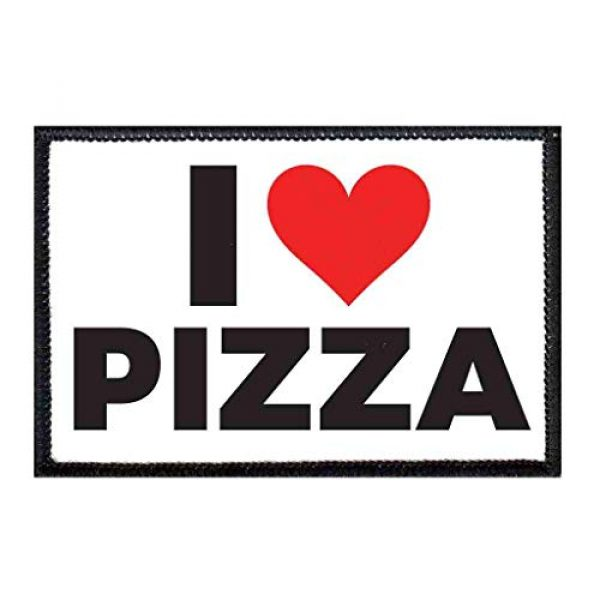 P PULLPATCH Airsoft Morale Patch 1 I Love Pizza Bold Morale Patch | Hook and Loop Attach for Hats, Jeans, Vest, Coat | 2x3 in | by Pull Patch