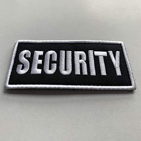 """uuKen Airsoft Morale Patch 3 uuKen Small Embroidered 4x2 inch White Boarder Security Guard Officer Patch 2 Pieces as Pack Set Bundle for Tactical Vest Uniform Clothing Bags Backpacks (White Boarder, 4""""x2"""")"""