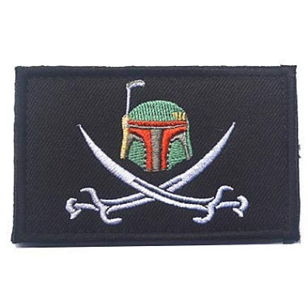 Embroidery Patch Airsoft Morale Patch 1 Star Wars Boba Fett Helmet Military Hook Loop Tactics Morale Embroidered Patch