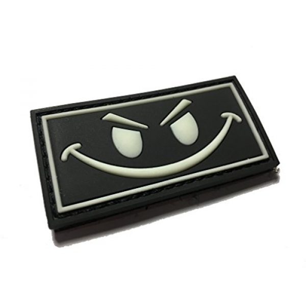 """Empire Tactical USA Airsoft Morale Patch 1 The 2x1"""" Angry Small Face - Glow in The Dark - PVC Morale Patch (Hook/Loop Back)"""