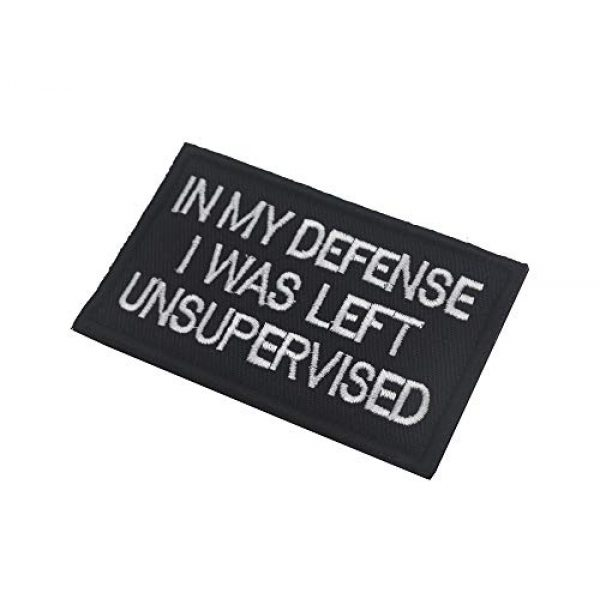 Ansellf Airsoft Morale Patch 5 in My Defense I was Left Unsupervised Patch,Tactical Military Army Gear,Tactical Combat Bagde Military Hook Embroidered Patch Set Hook/Loop Backing