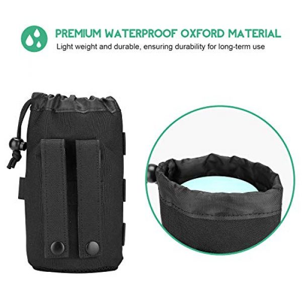 ProCase Tactical Pouch 5 ProCase Tactical Molle Water Bottle Pouch, Military Bottle Holder with Top Drawstring & Mesh Bottom, Portable Water Container Pouch Bag Hydration Carrier for Camping Hiking Hunting Traveling -Black