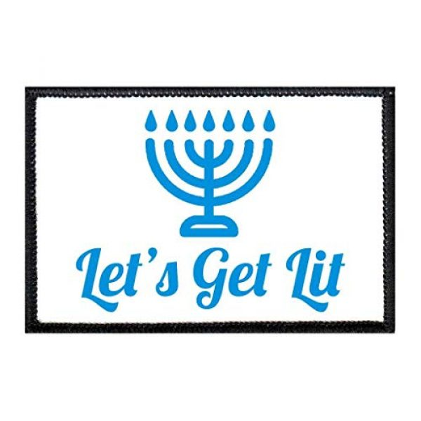 P PULLPATCH Airsoft Morale Patch 1 Let's Get Lit - Menorah - White Background Morale Patch   Hook and Loop Attach for Hats, Jeans, Vest, Coat   2x3 in   by Pull Patch