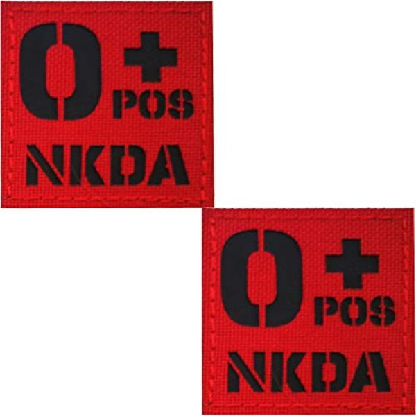 APBVIHL Airsoft Morale Patch 1 Infrared IR Reflective O POS O+ NKD O Positive Blood Type Patch, Tactical Morale Medical Patches with Hook and Loop Fastener Backing 1.97 x 1.97 Inch - 2 Pieces - No Known Drug Allergies