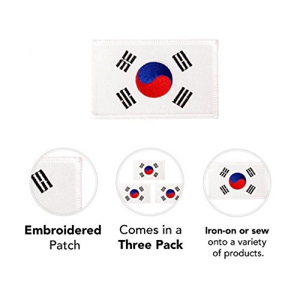Desert Cactus Airsoft Morale Patch 3 South Korea Flag Patch Bulk 3-Pack 3.5Wx2.25H State Iron On Sew Embroidered Tactical Morale Back Pack Hat Bags Korean (3-Pack Patch)
