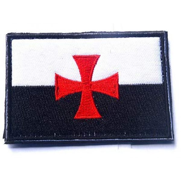 Embroidery Patch Airsoft Morale Patch 1 Knights Templar Cross Flag Crusaders Masonic Emblem Military Hook Loop Tactics Morale Embroidered Patch (color1)