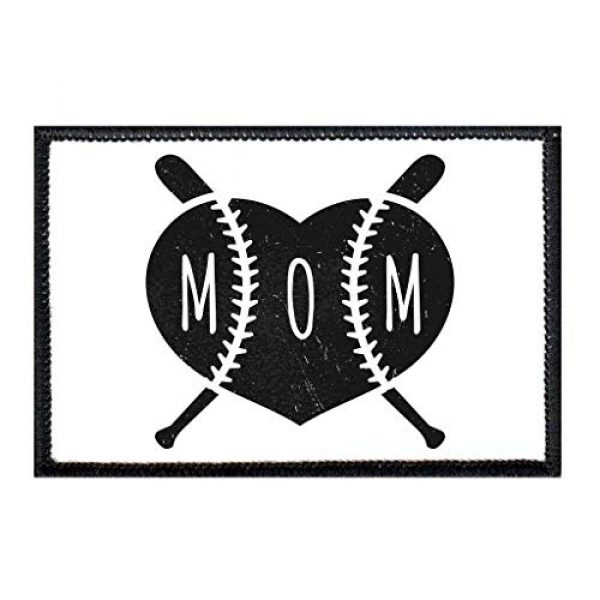 P PULLPATCH Airsoft Morale Patch 1 Baseball Mom Black and White Morale Patch | Hook and Loop Attach for Hats, Jeans, Vest, Coat | 2x3 in | by Pull Patch
