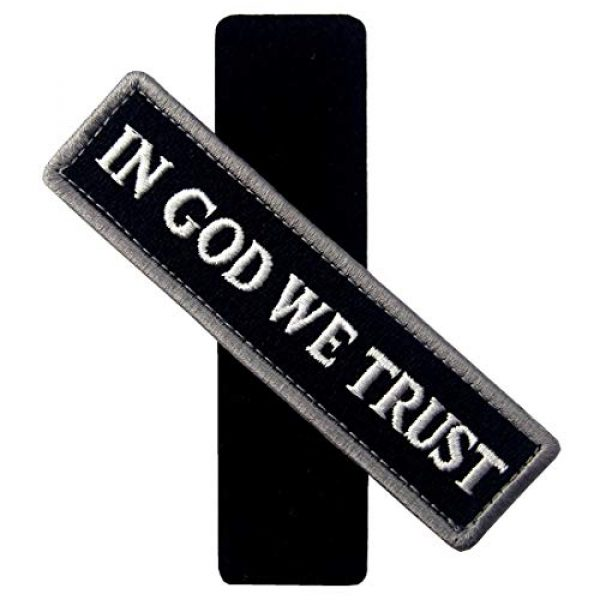 EmbTao Airsoft Morale Patch 3 EmbTao in GOD We Trust Embroidered Tactical Morale Fastener Hook&Loop Patch - Black & White