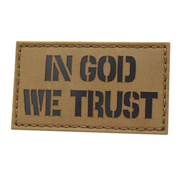 Tactical Freaky Airsoft Morale Patch 1 IR Coyote in God We Trust 2x3.5 USA Morale Tactical Hook-and-Loop Patch