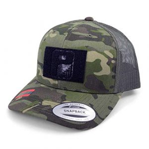 P PULLPATCH Tactical Hat 1 Pull Patch Tactical Hat | Authentic Snapback Multicam Curved Bill Trucker Cap | 2x3 in Hook and Loop Surface to Attach Morale Patches | 6 Panel | Tropical Camo and Green | Free US Flag Patch Included