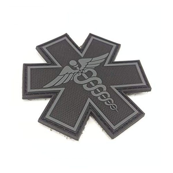 """Tactical Innovations Canada Airsoft Morale Patch 2 PVC Morale Patch - EMS - Medical Responder 3"""" Star of Life - Blk & Gry - Dual Snake"""
