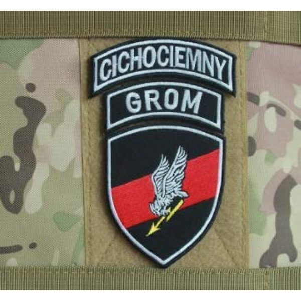 Embroidered Patch Airsoft Morale Patch 1 Polish Special Forces GROM TF-49 Shield + GROM Tab + CICHOCIEMNY Tab 3D Tactical Patch Military Embroidered Morale Tags Badge Embroidered Patch DIY Applique Shoulder Patch Embroidery Gift Patch