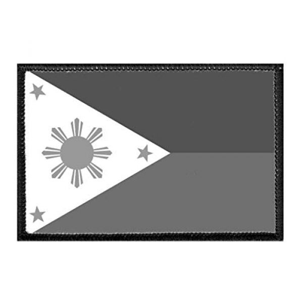 P PULLPATCH Airsoft Morale Patch 1 Philippines National Flag - Black and White Morale Patch   Hook and Loop Attach for Hats, Jeans, Vest, Coat   2x3 in   by Pull Patch
