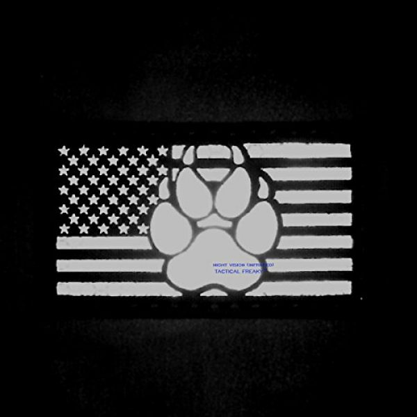 Tactical Freaky Airsoft Morale Patch 3 IR Blackout USA Flag K9 Dog Handler Paw K-9 Infrared Tactical Morale Fastener Patch