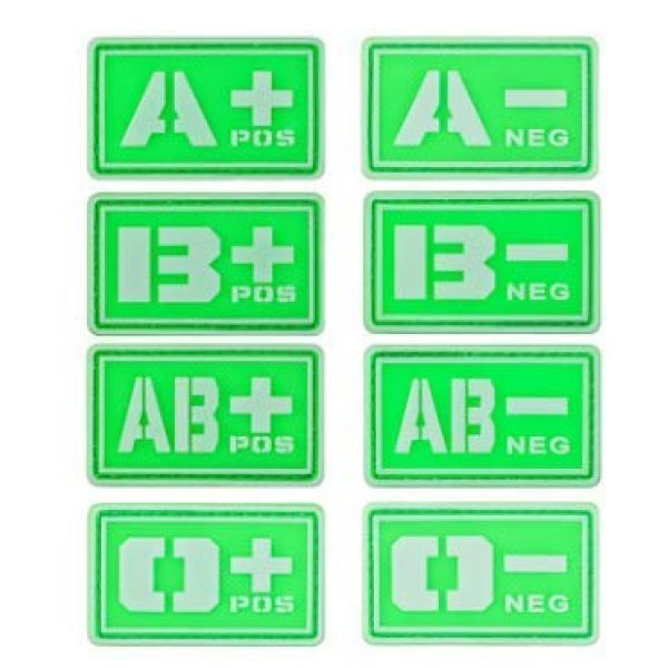 Tactical PVC Patch Airsoft Morale Patch 1 2pcs Glowing in Dark Blood Type PVC Military Tactical Morale Patch Badges Emblem Applique Hook Patches for Clothes Backpack Accessories