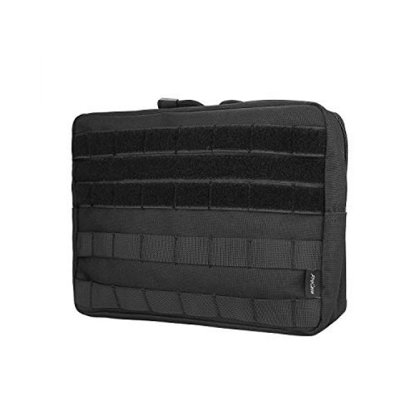 ProCase Tactical Pouch 1 ProCase Tactical Admin Molle Pouch, Military MOLLE Pouch Horizontal Multi-Purpose Utility Gadget Gear Tool Bag for Magazine, Flashlight, Map and Other Small Tools for Outdoor Activities -Black