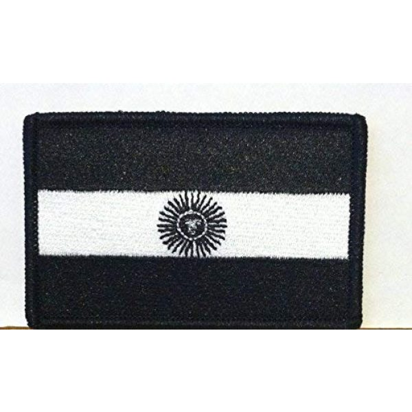 Fast Service Designs Airsoft Morale Patch 1 Argentina Flag Embroidered Morale Patch with Hook & Loop Travel Patriotic Funny Black & White Version Shoulder Emblem Black Border #13