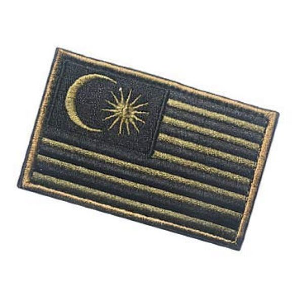 Embroidery Patch Airsoft Morale Patch 3 Malaysia Flag Patch Military Hook Loop Tactics Morale Embroidered Patch (color2)