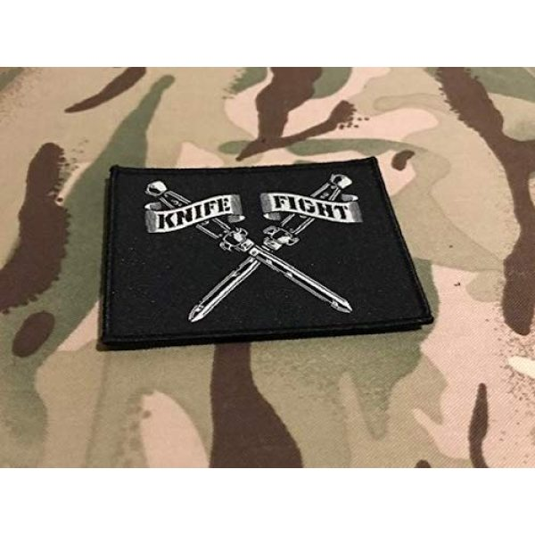 """BritKitUSA Airsoft Morale Patch 1 Knife Fight Woven Morale Patch Switchblade Hydro74 Rebel Without A Cause Hook & Loop Backing Sized 3.5"""" x 2.5"""""""
