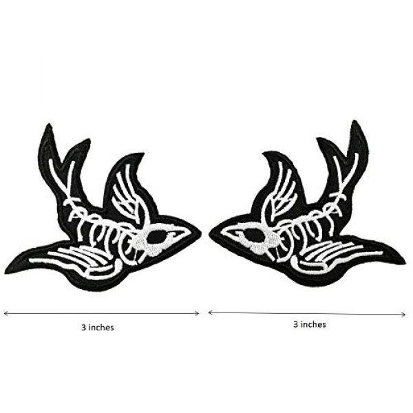 Cute-Patch Airsoft Morale Patch 2 One Pair Swallow X-Ray Skeleton Embroidered Iron On Sew On Patch Heavy Metal Rock Punk Tattoo Emblem