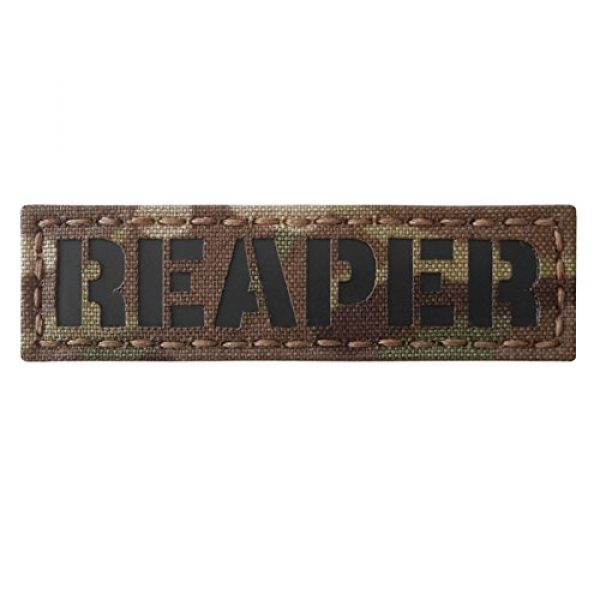 Tactical Freaky Airsoft Morale Patch 2 Reaper 1x3.5 Multicam Infrared Name Tape Tab IFF Morale Fastener Patch