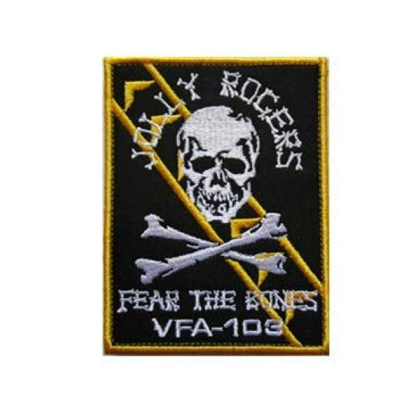 Tactical Embroidery Patch Airsoft Morale Patch 1 VF-103 Jolly Rogers Fear The Bones Embroidery Patch Military Tactical Morale Patch Badges Emblem Applique Hook Patches for Clothes Backpack Accessories