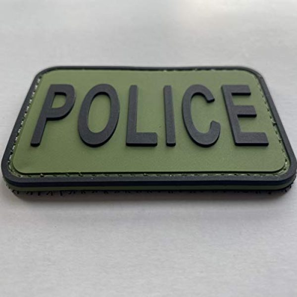 """uuKen Airsoft Morale Patch 3 uuKen Small PVC Rubber OD Ranger Green Morale Police Vest Patch 3x2 inches Hook Fastener Back for Tactical Caps Hats Airsoft Jackets (OD Green and Black, XS 3""""x2"""")"""