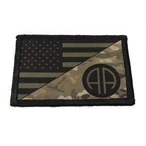 "RedheadedTshirts Airsoft Morale Patch 1 82nd Airborne Multicam USA Flag Morale Patch Tactical Military. 2x3"" Hook and Loop Made in The USA"