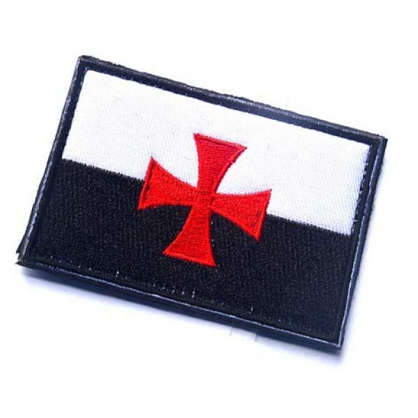 Embroidery Patch Airsoft Morale Patch 3 Knights Templar Cross Flag Crusaders Masonic Emblem Military Hook Loop Tactics Morale Embroidered Patch (color1)