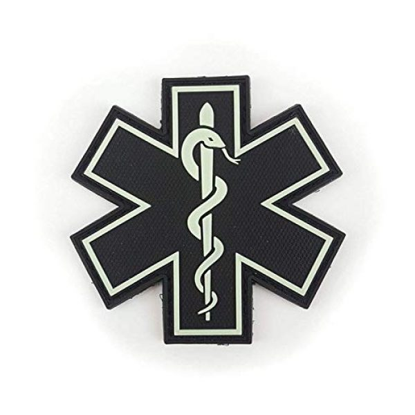 """Tactical Innovations Canada Airsoft Morale Patch 1 PVC Morale Patch - EMS - Medical Responder 3"""" Star of Life - Glow in The Dark - Single Snake"""
