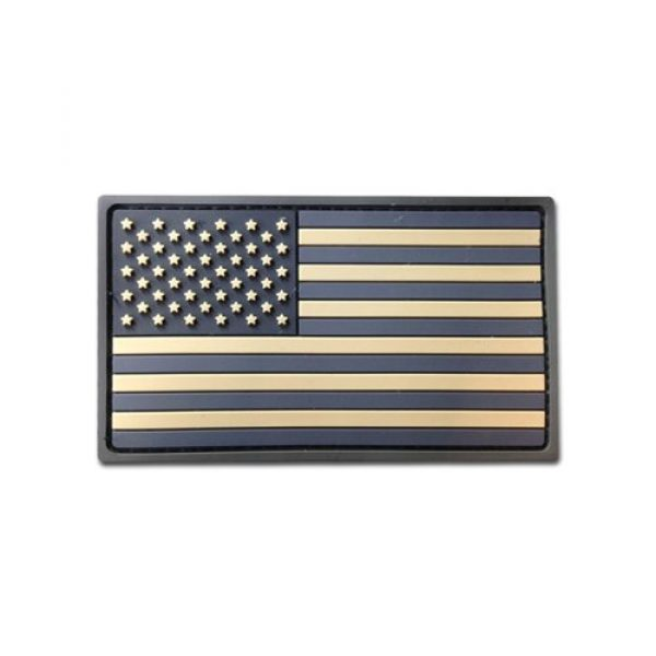 BASTION Airsoft Morale Patch 1 Bastion Tactical Combat Badge PVC Morale Patch Hook and Loop Patch - USA Flag (Tan)
